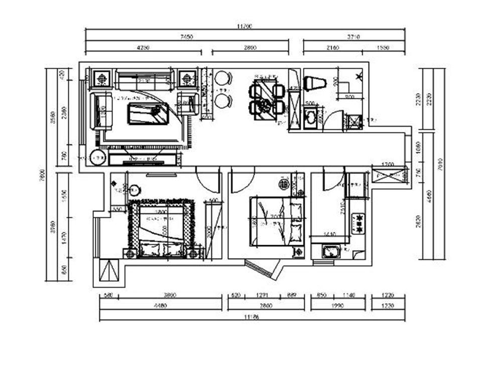 本户型是从南向北进入,户型朝西。通透,室内通风比较规整。有利于内部分割,面积利用率高。