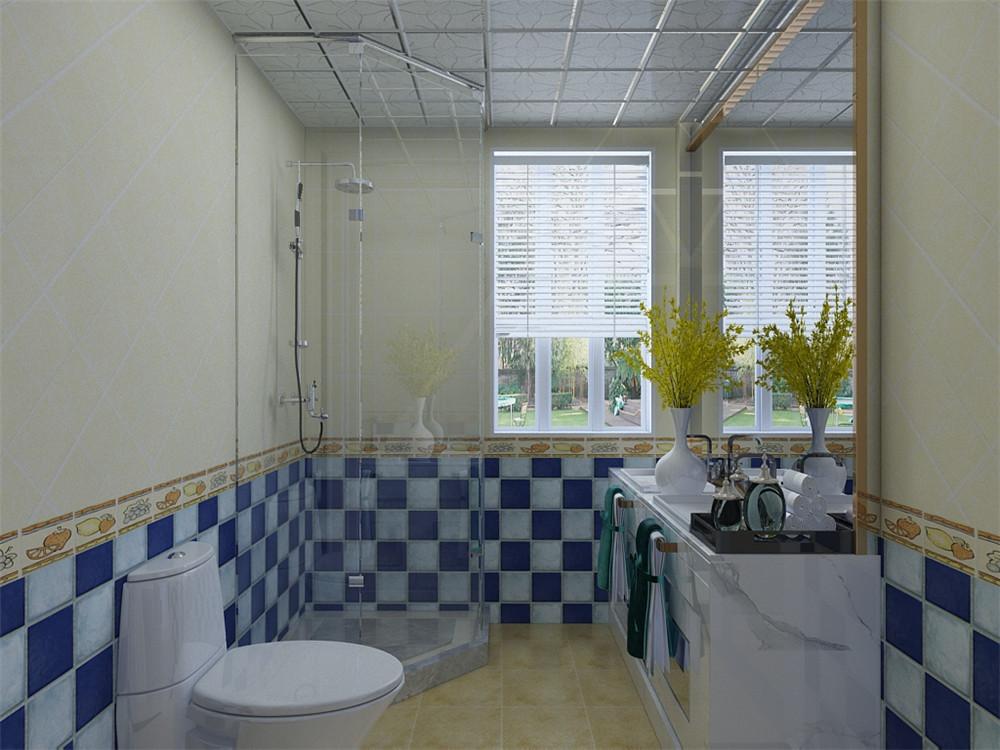 卫生间的墙砖和客厅的沙发成映衬,整体搭配得当