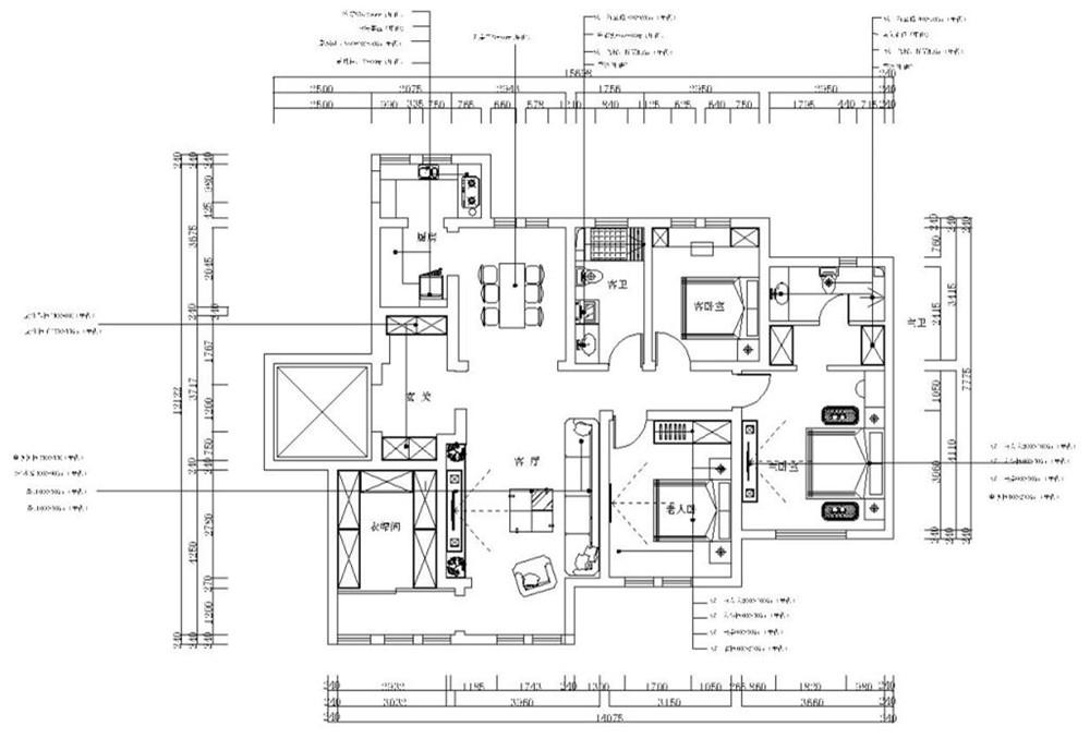 本案为3室1厅167㎡,该户型南北通透,光线较为充足,空间比较合理,可以为住户创造舒适的住房体验。从入户门进入,左侧就是厨房,餐厅在进门左方,再接下来是客卧室,内设双窗,采光较好,视野开阔,次卫位于客卧室和老人房之间,面积较小,深夜去卫生间很方便,主卧位于户型最里面,私密较性好,安静,视野开阔,采光较好,内有一大窗,内有一主卫,再接下来是客厅,客厅面积较大,客厅与餐厅相近,给用餐带来了方便。