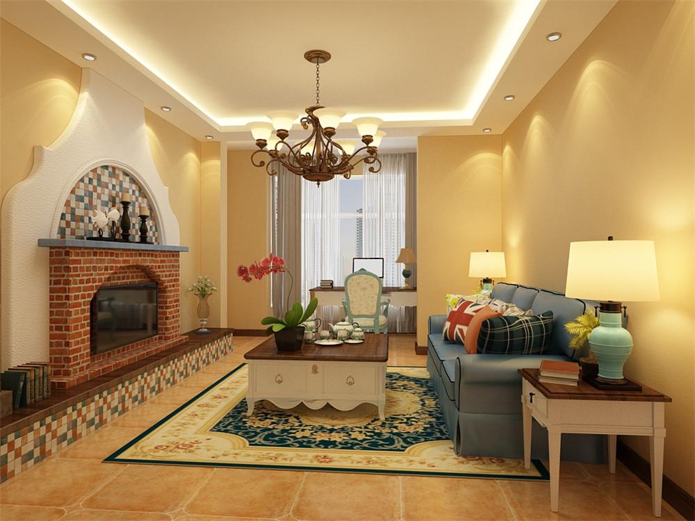 客餐厅墙面整体采用的是暖黄色的设计。电视背景墙的造型设计采用的是美式壁炉的设计,红砖的切成的壁炉,搭配蓝色的台面与彩色小瓷砖的背景墙与底座,白色的背景墙打底造型链接整个空间使空间具有连贯性。蓝色的台面与蓝色的沙发相呼应,使整个空间更加整体、活泼。同款的茶几、角几与桌子,在整个空间中相互呼应,使空间更加完整。
