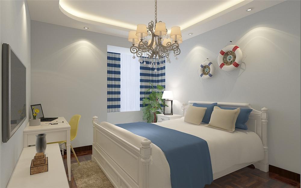 卧室简单,也设计了业主工作的地方,放置笔记本电脑或者当做梳妆台,整体的黑白灰颜色搭配融洽,简明大气。