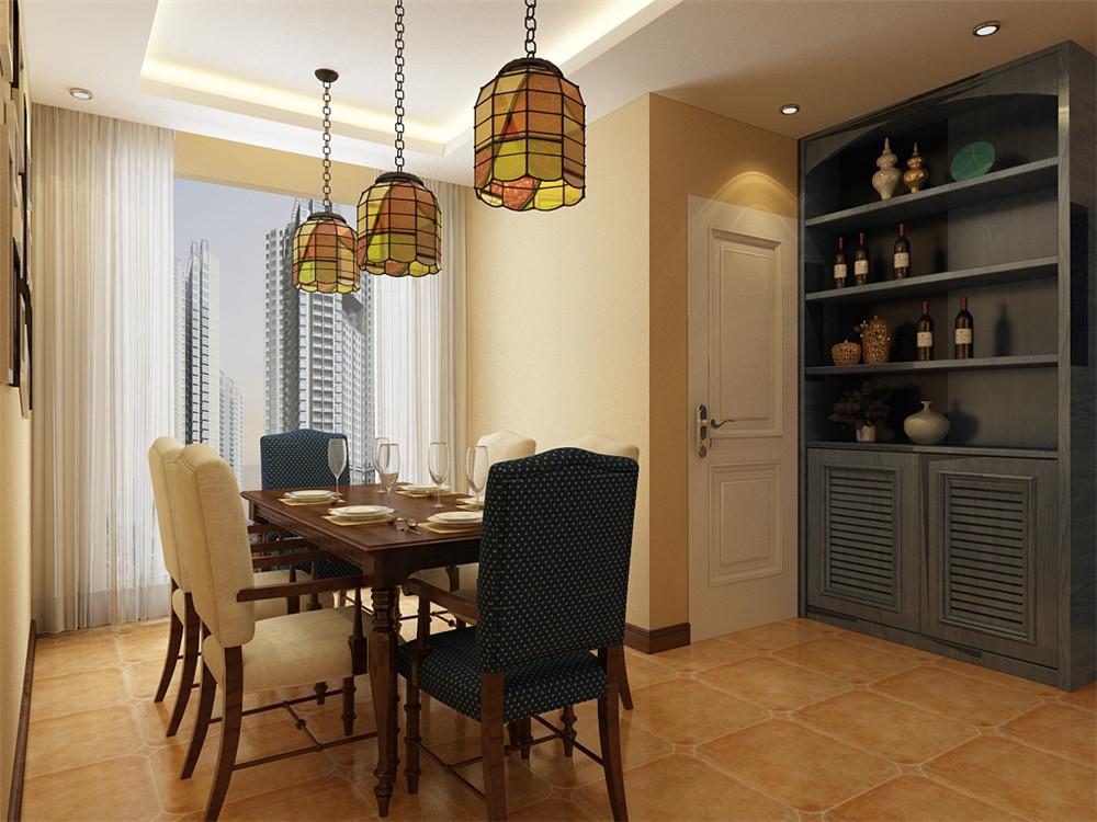 餐厅与客厅想搭,落地窗的设计使整个空间更加明亮与自由。实木的软包桌椅设计使就餐的人感受更加舒适与温馨。色彩与客厅相呼应。酒柜的设计更加方便了餐厅的使用。