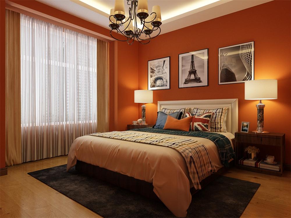卧室的整体设计与客餐厅想搭,墙面整体采用的是橙红色的暖色雕设计,搭配黑白灰照片的设计。床品的搭配与客餐厅想搭。大面积的单色设计,搭配少量的彩色是整个空间更加和谐。