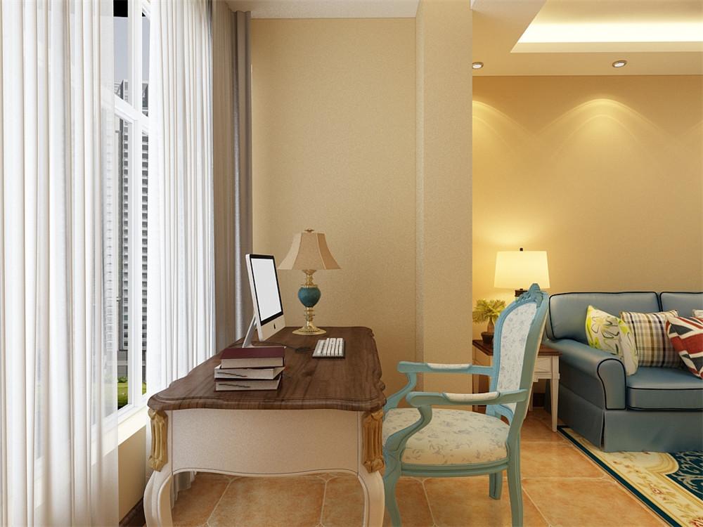 阳台的空间较大与独立,所以做了一个小型的办公学习的区域。