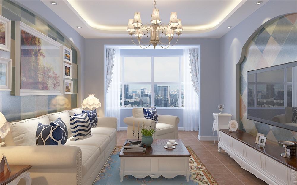 客厅有一个3+1的沙发,浅灰色的沙发与灰颜色的大理石电视背景墙呼应,为了节省空间,电视安装在墙上,中间有个小桌子,客厅采用了800的白色瓷砖,客户的地毯和瓷砖也能很好的搭配