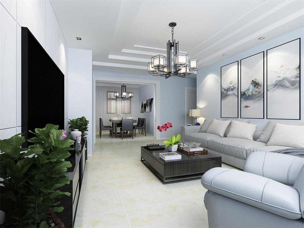客厅的设计比较简单,沙发背景墙放了三幅装饰画,使空间更为大气,吊顶的设计做了二级阶级吊顶,沙发的选择为布艺的,茶几选择为方形。