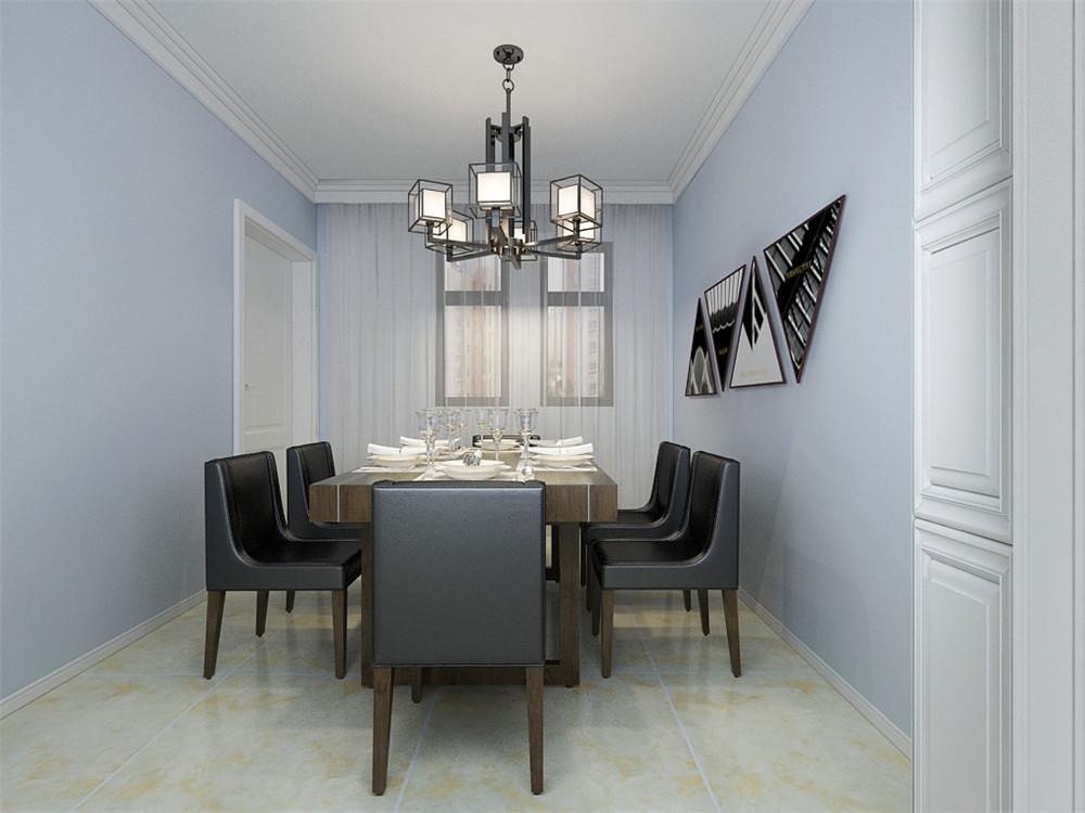 突显出整体的设计高端大气,餐厅的设计也很复杂,餐桌的选择为6人餐桌,在客厅旁边,餐桌上放有陶瓷器具,客厅餐厅的吊顶一体