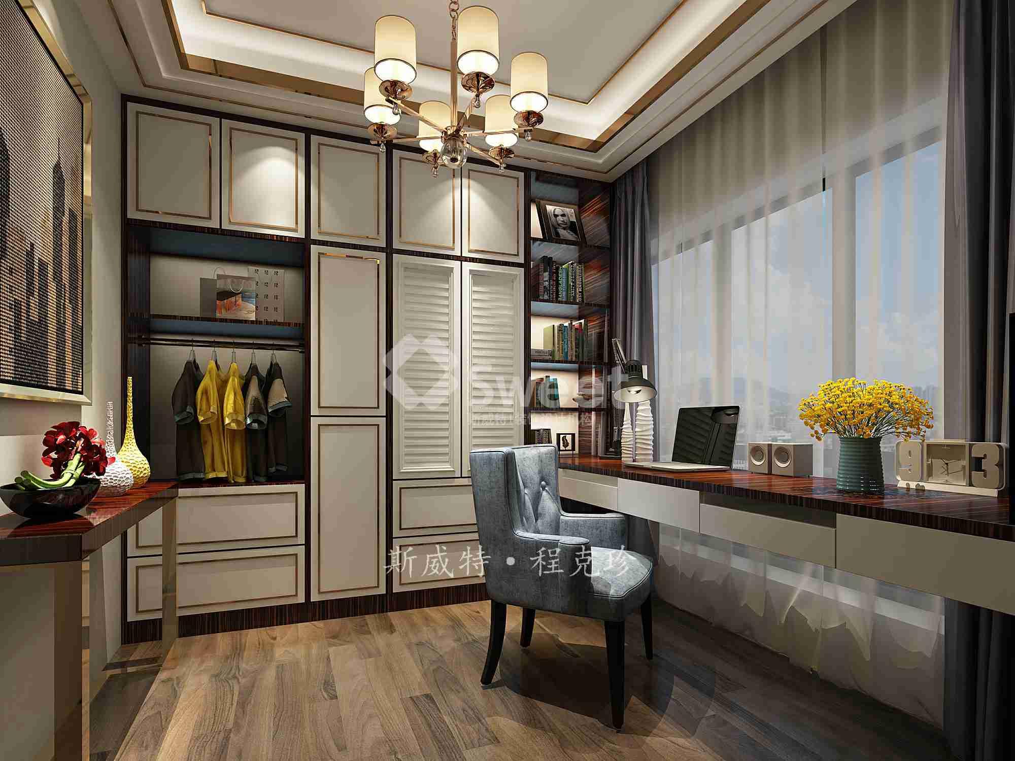 现代轻奢风格,木饰面搭配轻金属营造轻奢感,简洁而不失时尚,以黑檀饰面为主调,展现一个都市风尚的氛围