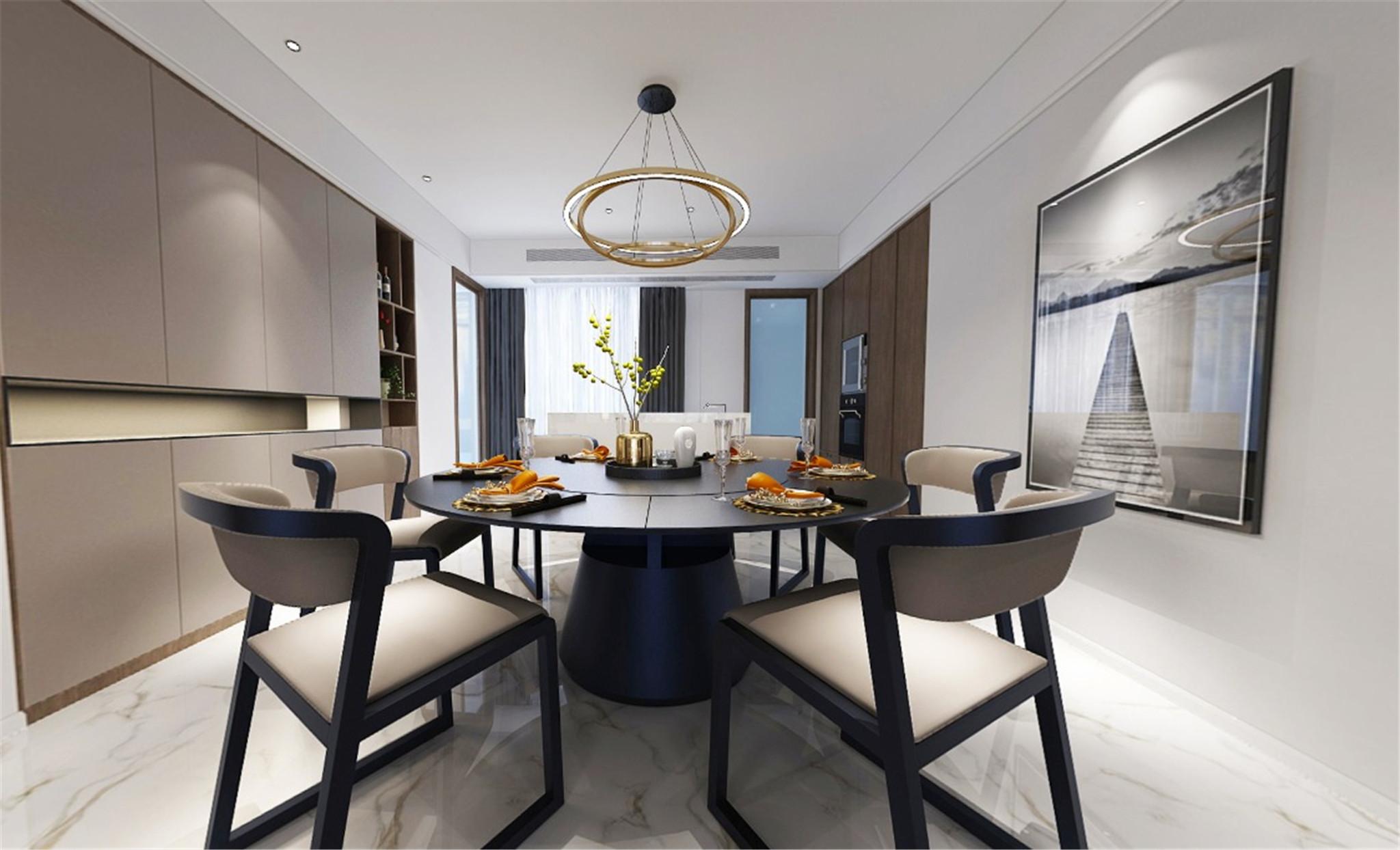 餐厅:从业主的谈吐,行为,穿着,品味延伸至活动与居住的场所,室内设计不仅满足我们对美感的期待,还是面对生活的一种态度。餐厅是体现生活品味和生活趣味的重要场所,设计以精简的手法将业主的需求结合房屋特点使之和谐开阔,