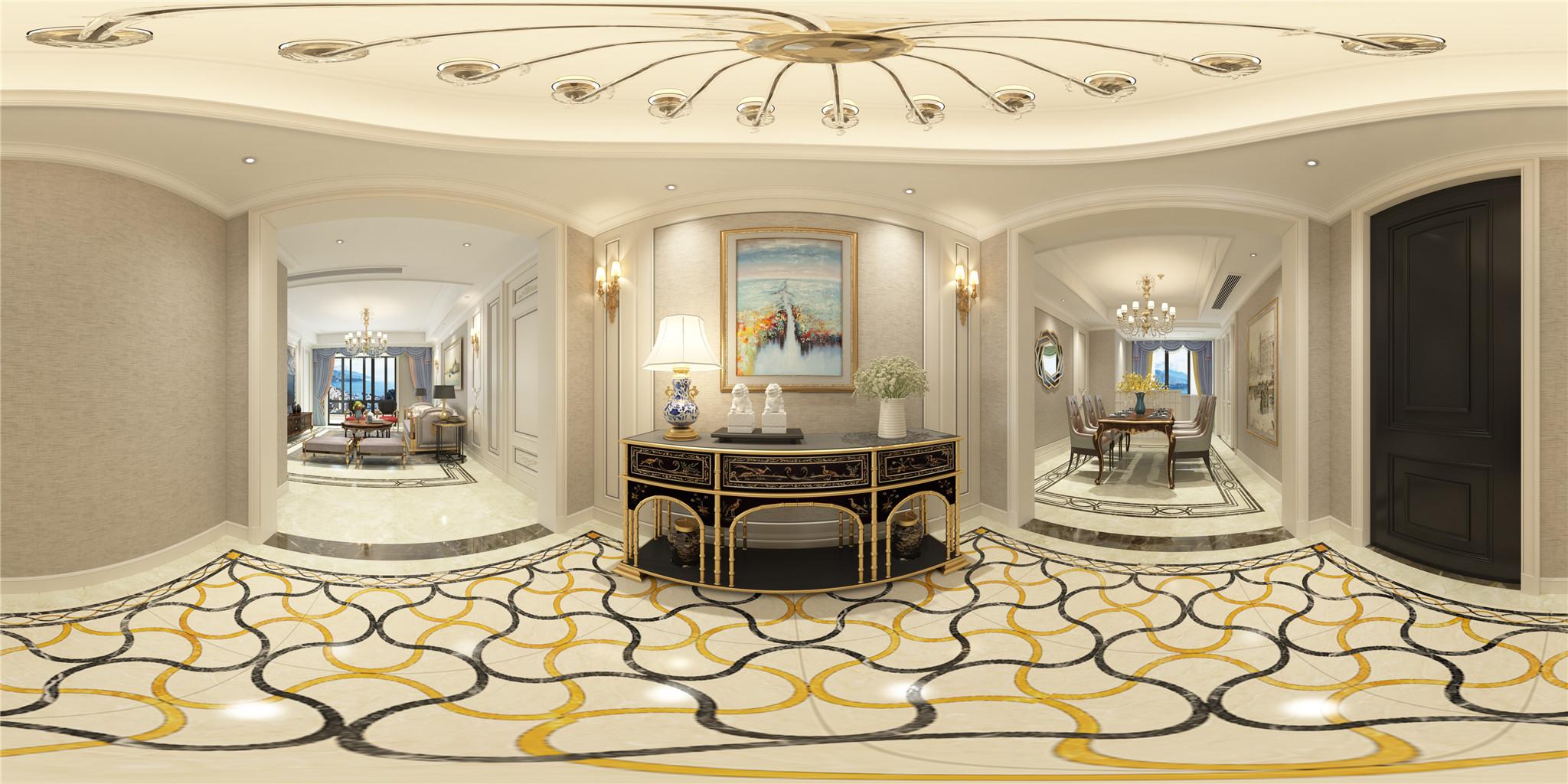 2.门厅及餐厅入户既被精致的玄关柜所吸引,墙面配合淡雅的冷色系景观油画,与玄关柜相映成趣。地面错落有致的大理石拼花与玄关柜曲线造型的桌脚相得益彰。