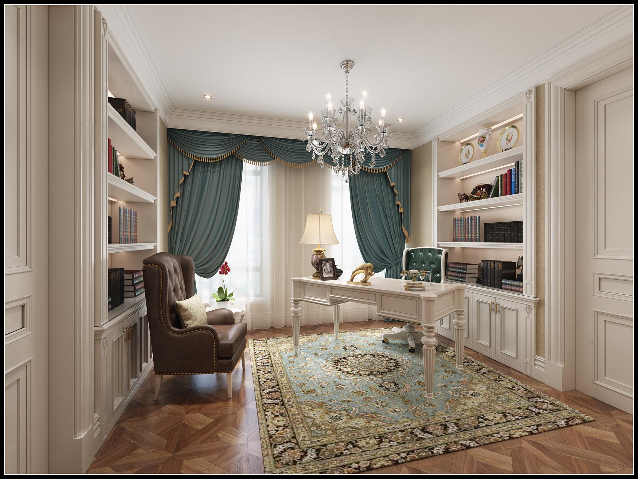 3.书房书房延续了公区的雅致,大面积采用奶咖色与白色搭配,简单温馨。窗帘及书桌椅用抢眼的冷色系,空间摒弃平庸的同时留给了书房一份宁静。