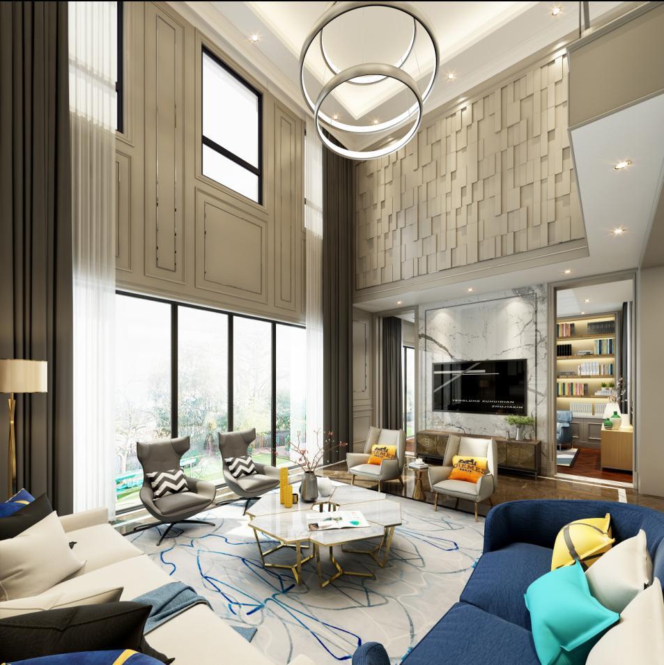 445平米三居室装修攻略 现代简约全包140万!-英庭名墅装修