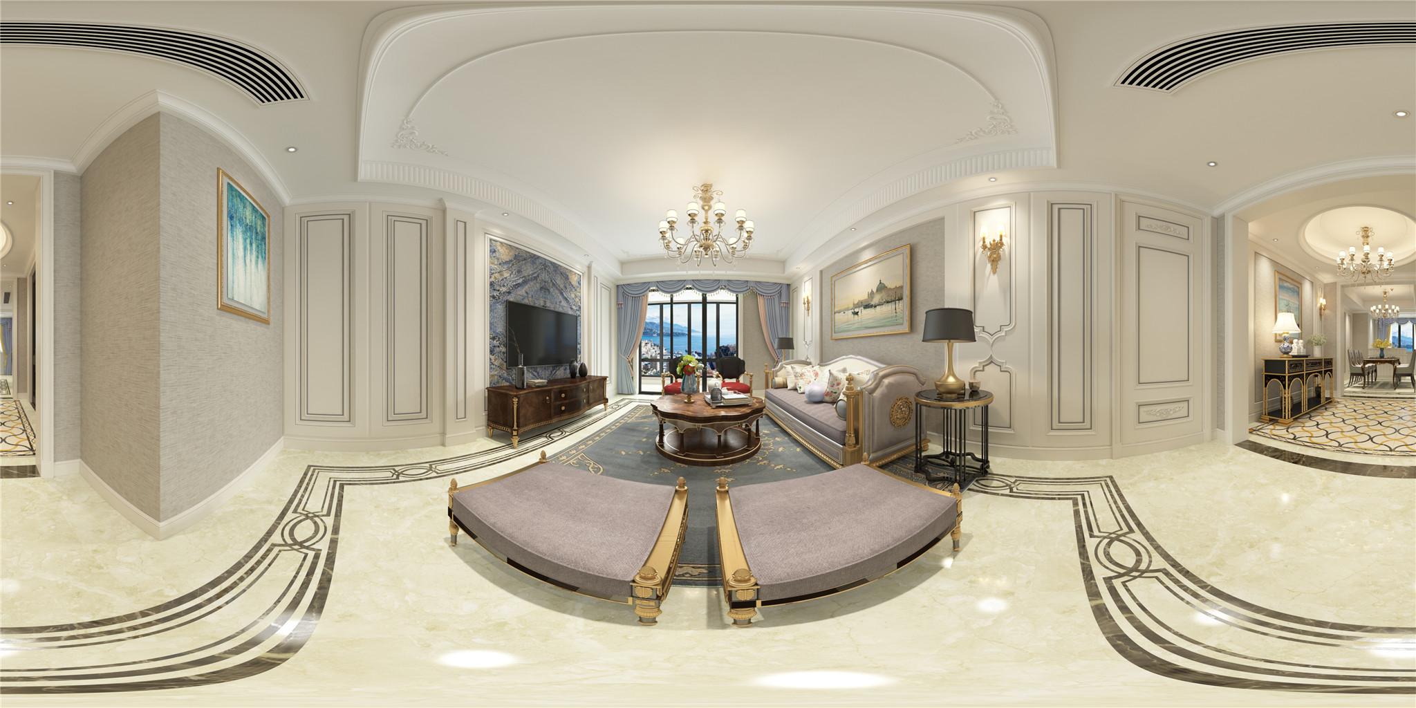 1.会客厅米灰色护墙板与墙布结合,局部点缀孔雀蓝大理石。颜色的对比,材质的结合将古典的家具映衬的别致高贵。