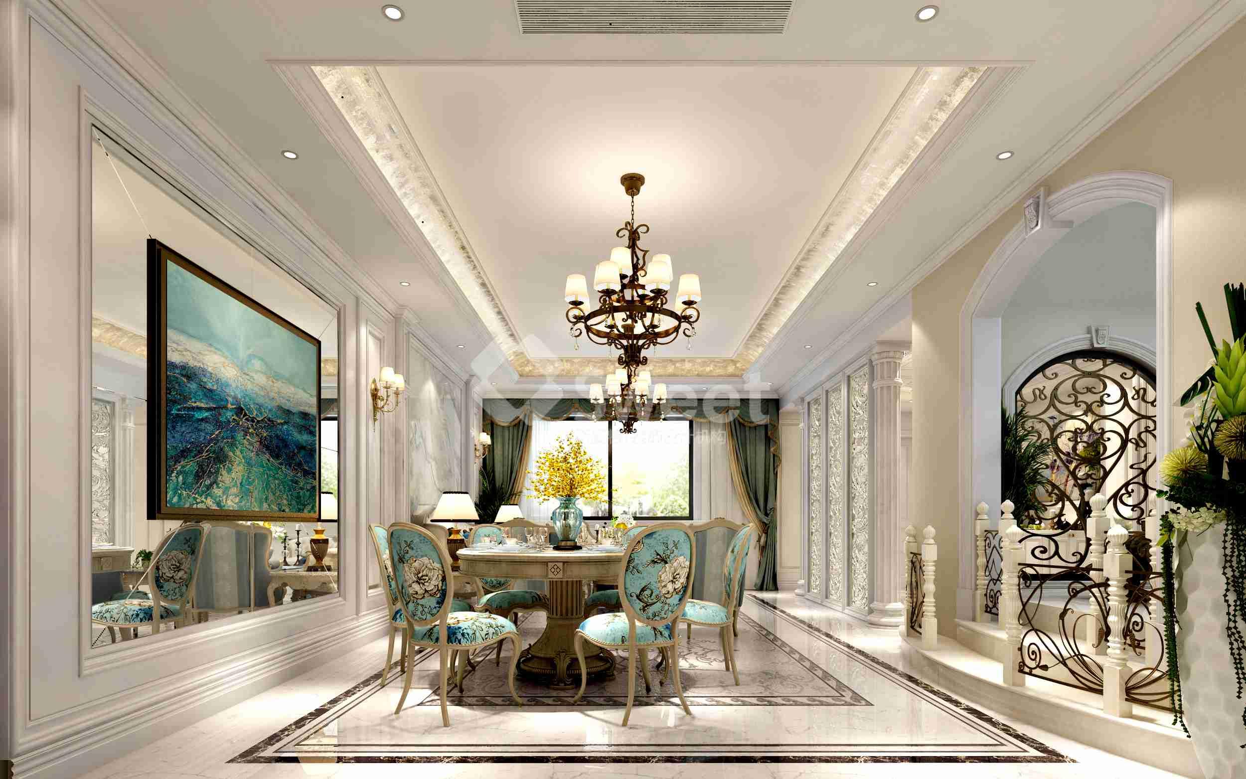 大面积的珠光白漆饰面增加了空间的温婉之气,极富心思的家具配饰,隐约的显露了她的内在美。