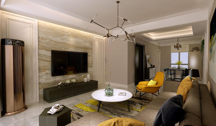 142平米三居室装修秘籍 现代简约半包7万!-海尔地产云世界装修