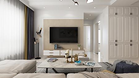 89平米二居室热门案例 现代简约半包4万!-富力华庭装修