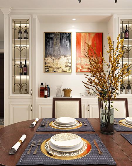 138平米三居室如何装修 简美半包6万!-富力华庭装修