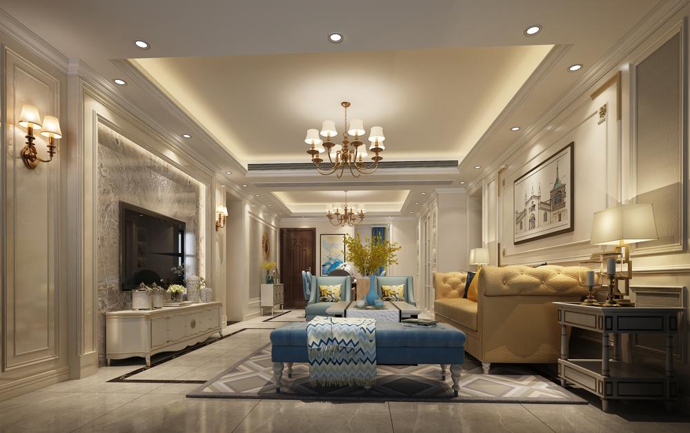 150平米四居室精美装修 简约美式半包20万!-中信星光名庭装修