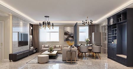 101平米三居室装修案例 现代简约半包6万!-绿景未来城装修