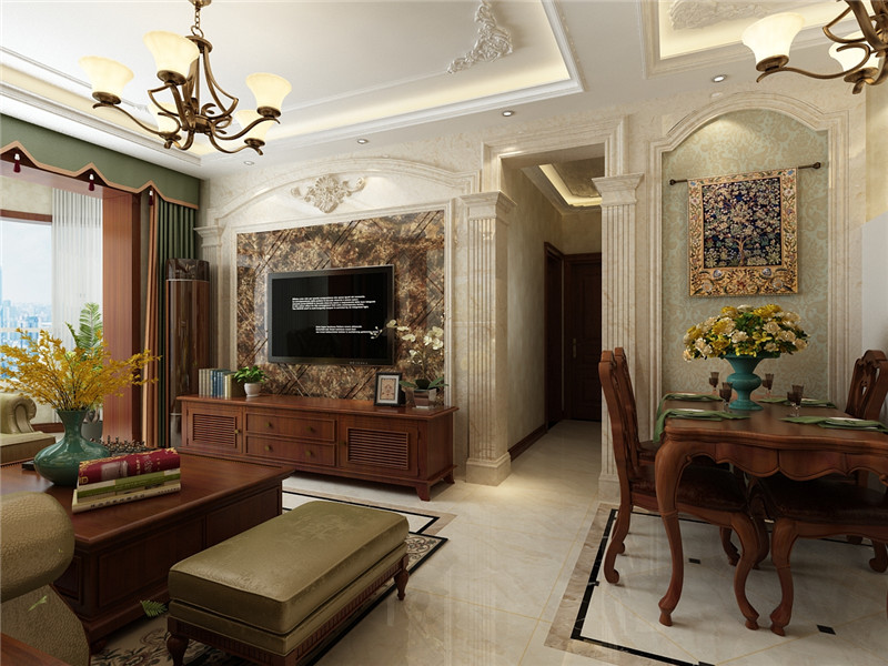 100平米二居室装修攻略 欧美风情半包3万!-滨海新城装修