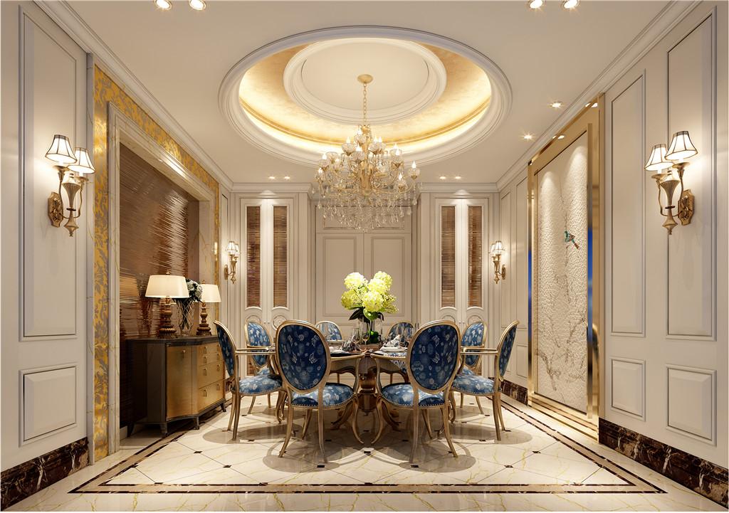 餐厅:餐桌深蓝色布艺沙发使整个空间带来了柔美的气质,给人以开放、宽容的非凡气度。