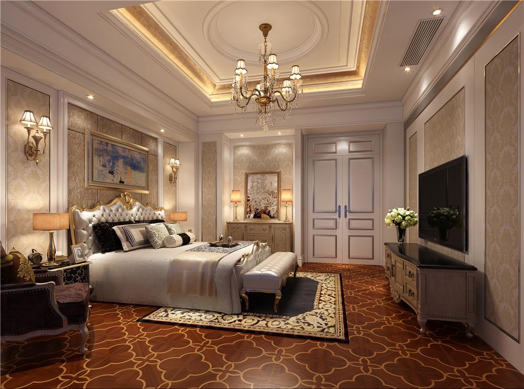 主卧室:主卧室格调相同的壁纸、帘幔、地毯、家具、布艺软包等装饰织物,给古典风格的家居环境增添了端庄、典雅的贵族气氛。