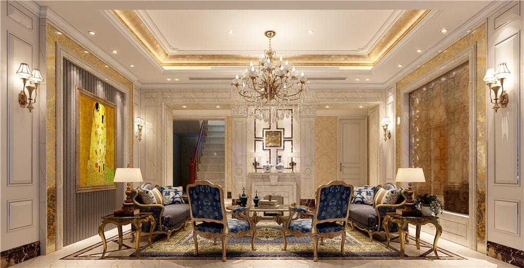 会客厅:壁炉作为居室中心丰富客厅空间。在色彩上,以白色系和黄色系为基础,搭配蓝色、深棕色、等,表现出古典欧式风格的华贵气质。在材质上,采用樱桃木,胡桃木等高档实木,表现出主人高贵典雅的贵族气质。