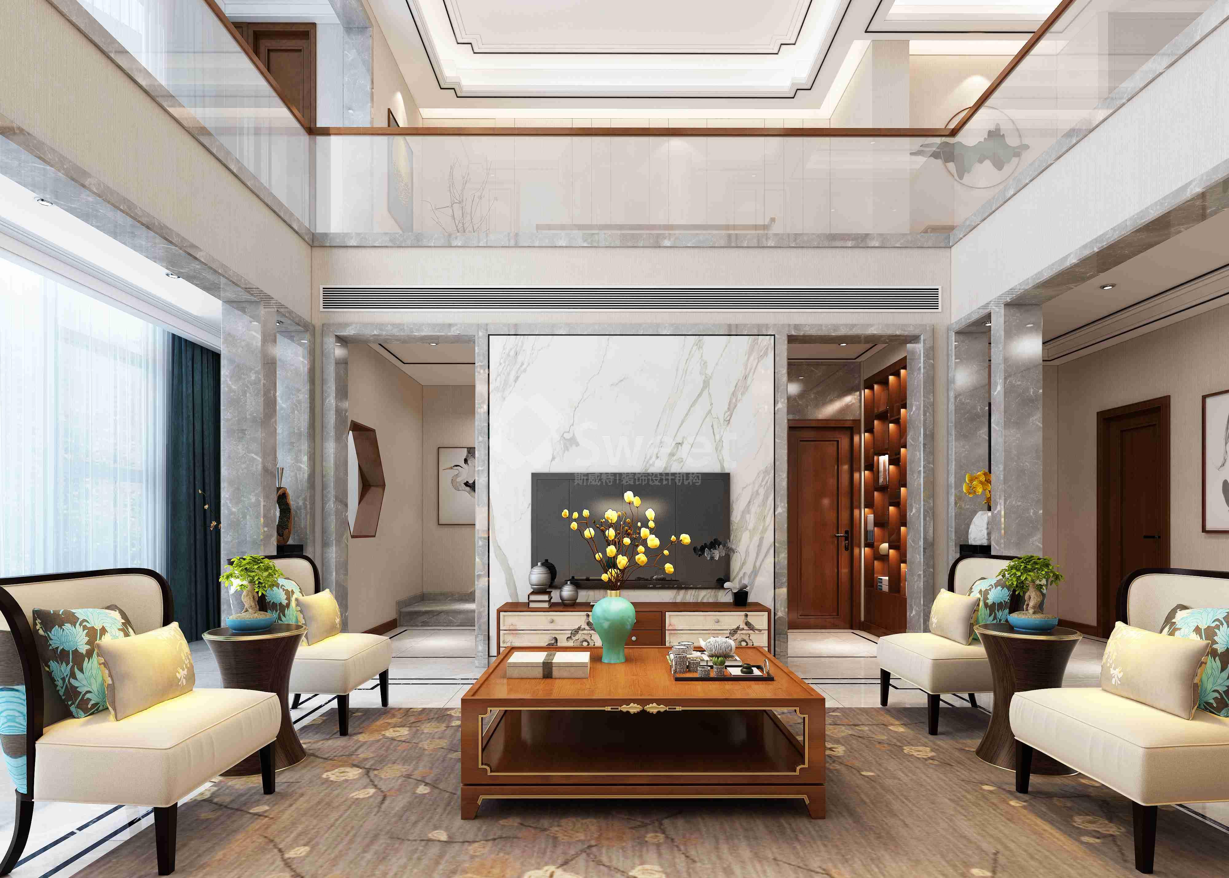 业主希望自己的家简洁时尚具有现代气息又不失传统中式的味道,卧房尽量满足办公功能 ,储藏空间充足,预留自己爱喝茶的功能空间