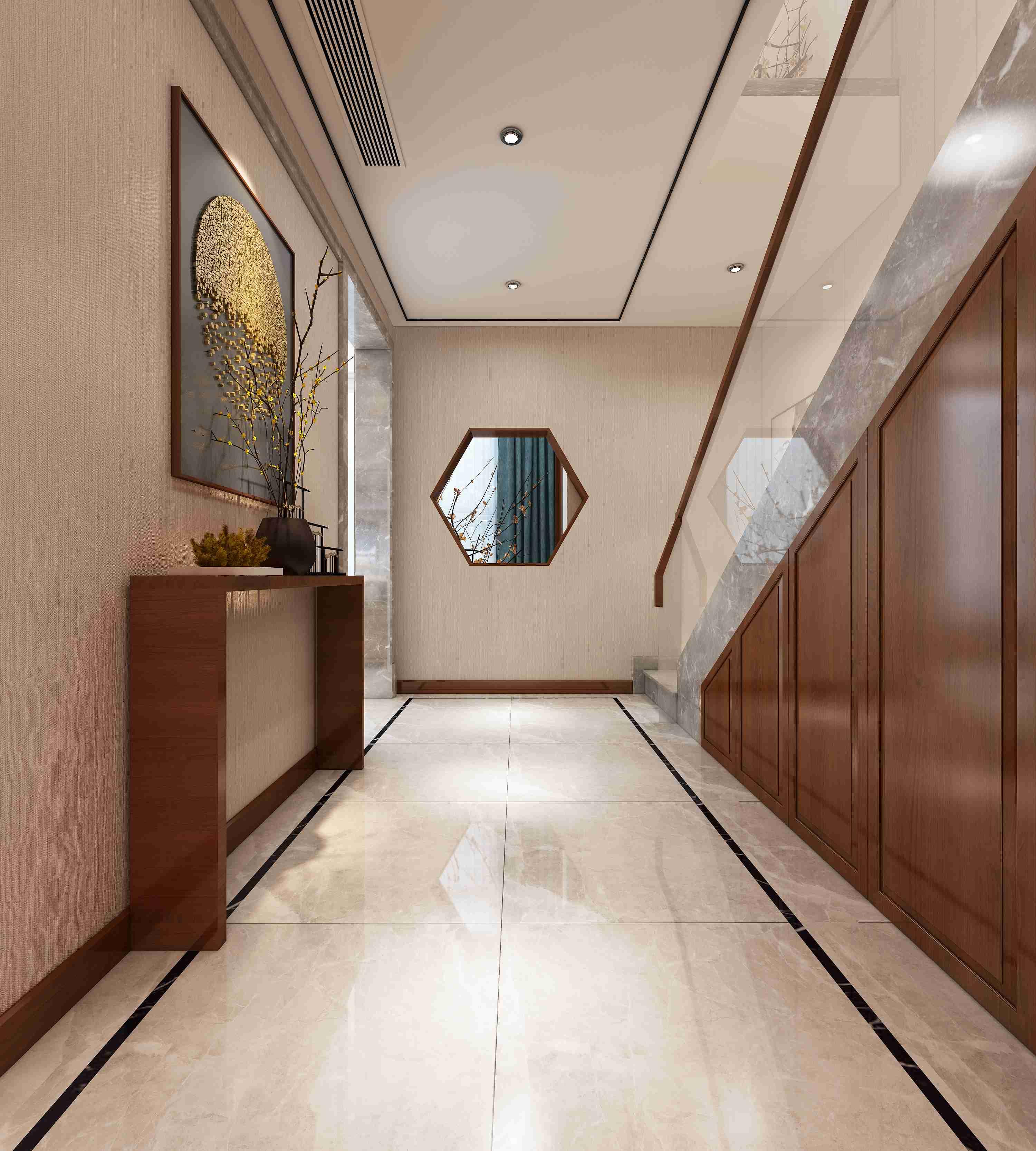 楼梯间为一个通向一楼和二楼的中转空间,起到承上启下的作用,为不影响光线的踏入和空气的流动,一边是对向门厅区域的造型柜,采用双面镂空,让空气流动,对向阳台的墙面做成六边形中空造型,既不影响采光,又起到了中式中藏和借景的效果。使得寂静的空间又带有些许生机。