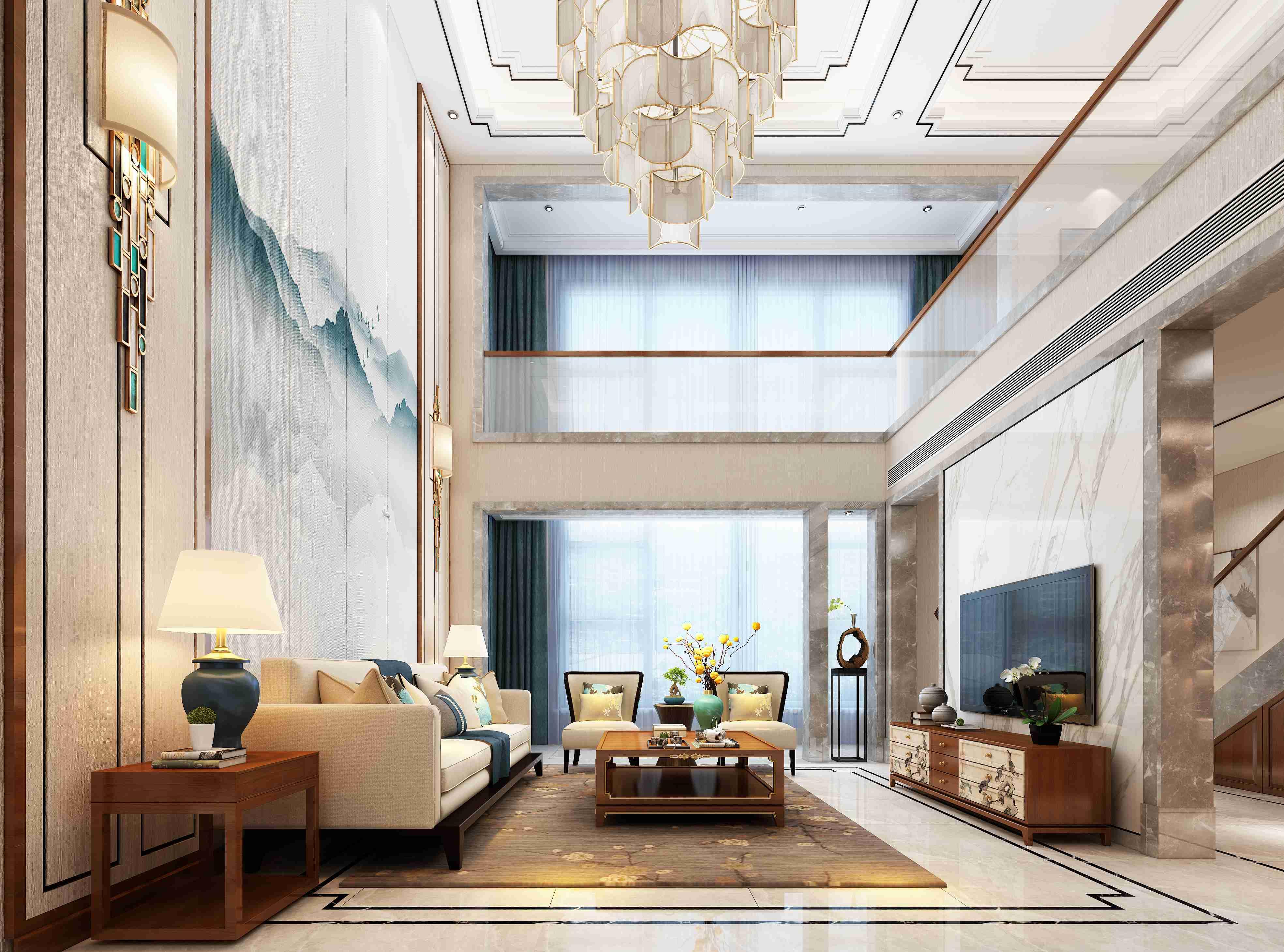 """大面积的素色壁布,让人联想到干净、简洁。电视墙选用了具有文房四宝中与""""墨""""形似而神不似的石材为背景,沙发墙大面积使用定制的山纹水墨画硬包为面层,时尚大气又不失传统元素的存在,用现代材质来表现传统味道。"""