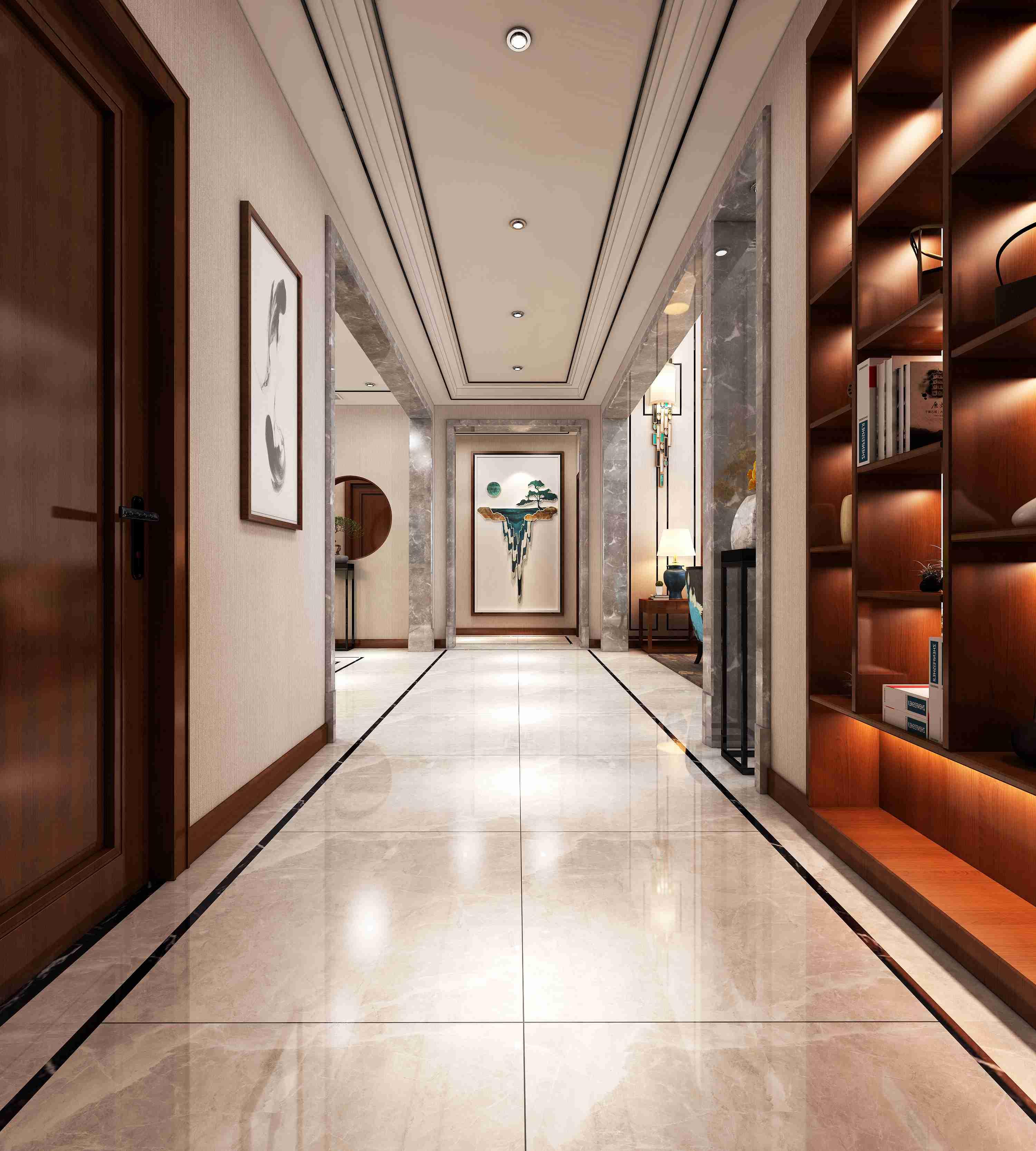 大气而磅礴,低调而有内涵。没有过多的墙面造型,只有淡淡的米灰色麻布纹墙布和淡咖色的地砖为背景色,加入具有神韵的中式传统元素挂画,让整个空间既大气又时尚。