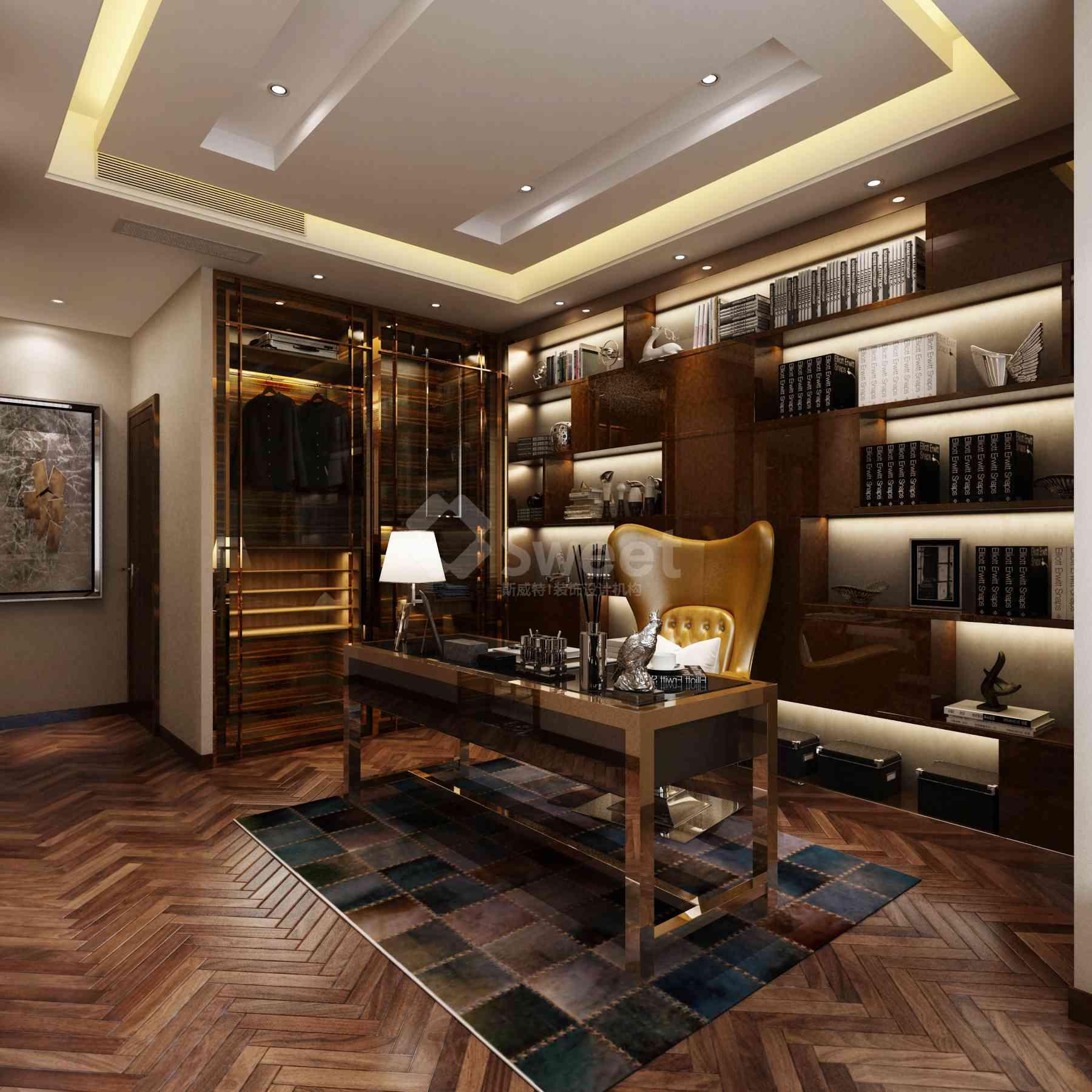 木纹石材的地面,弧型的空间,独特的空间,拷漆的紫檀木装饰,玫瑰金的不锈钢装饰线,拷漆的饰面,有层次的装饰顶,让空间张扬阔气 整洁内涵,书与木色相协合, 灯光的明暗,使空间更加神秘, 外景的美色与内而相生。