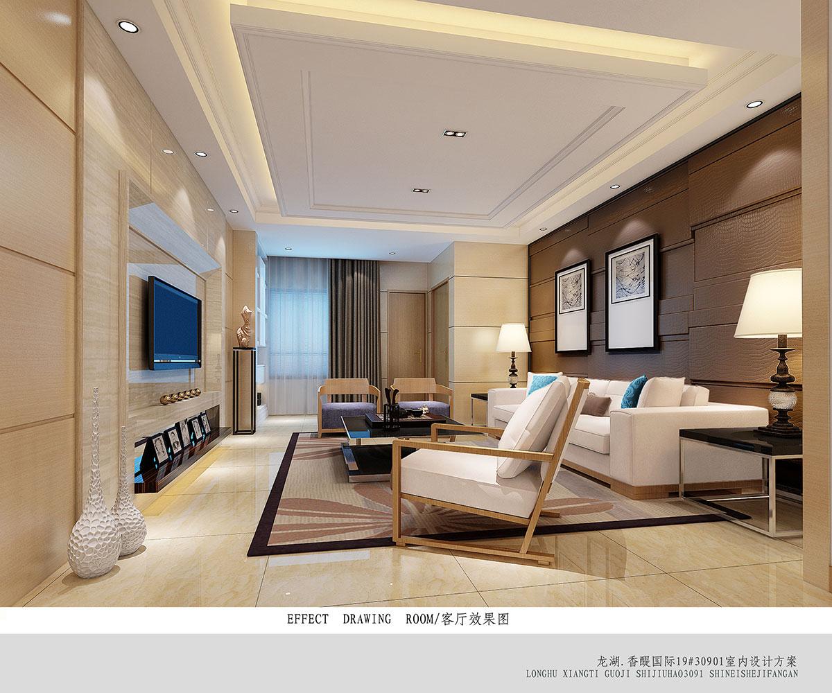 本案定为现代简约风格。以黑白灰为主色调,大量采用木色,呈现出事物的本质,化简为繁,将最核心的、最质朴的呈现出来,搭配简单舒适,在静谧的格调中增添了一丝活力,却不失整体风格。