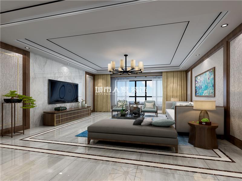 西安长延堡街道办事处家属院现代简约四居室装修效果图 150平米8万图片