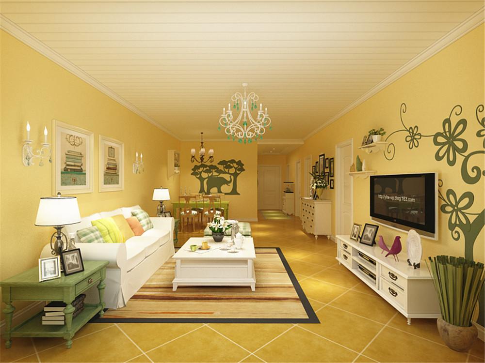 田园风格三居室装修案例,90平米的房子装修多少钱?-万科金域华府装修