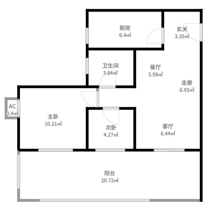 祈福新村翠怡居/100方/三居室/现代风格