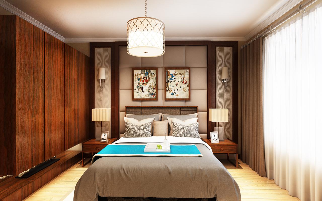卧室2的衣柜也是红木的,床铺选用和窗帘一样的颜色,与背景墙合为一体.