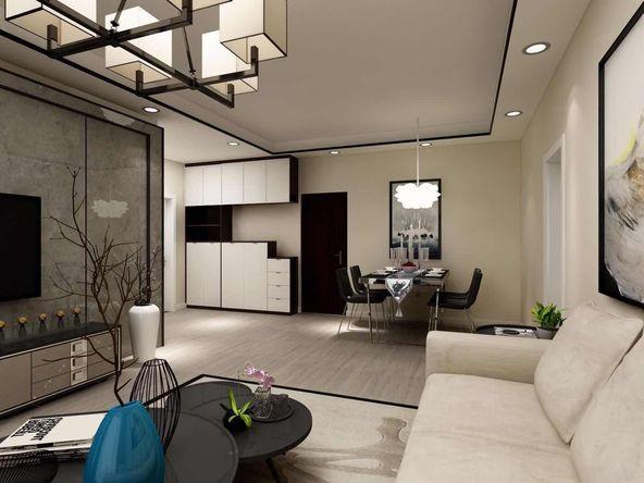 现代风格的设计上,客厅的重点装饰放在电视墙背景上,灯饰还有软装配饰