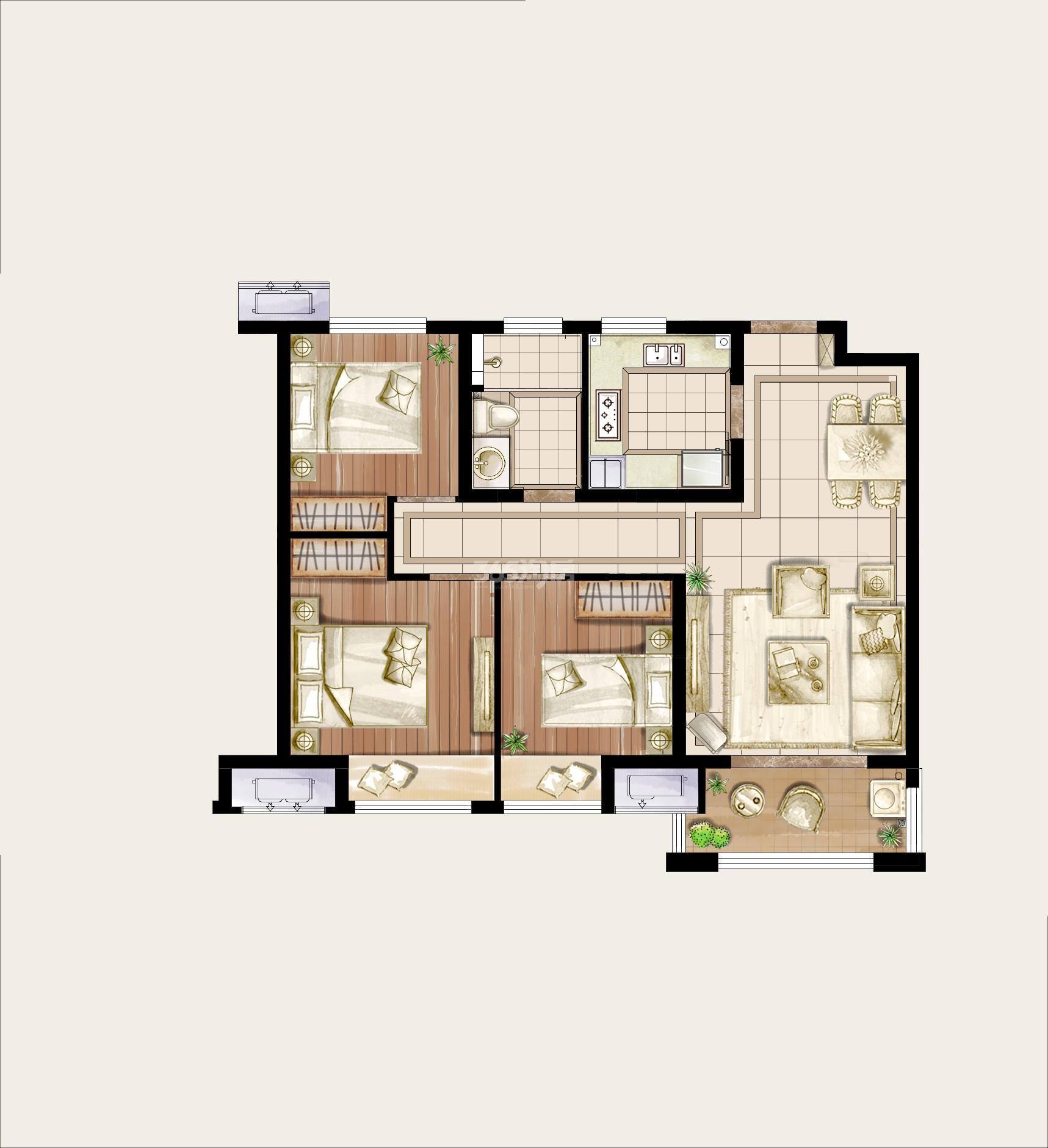 美式风格三居室如何装修,105平米的房子这样装才阔气!