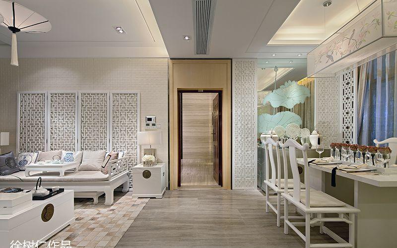 简中式客厅过道地板砖连餐厅玻璃背景墙