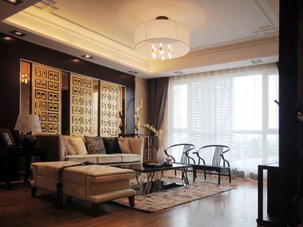 客厅摆床效果�_2019中式整体客厅罗汉床图片-房天下装修效果图