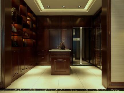 中式风格三居室书房书架装修效果图