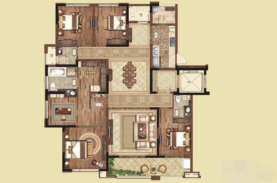 最佳大平层户型图_其他四居室180平米54万-高科荣境装修案例-南京房天下家居装修网